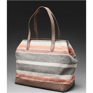 REBECCA MINKOFF Cherish Tote Striped Canvas & leather Bag purse